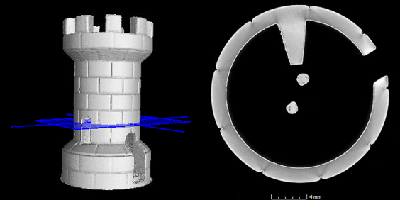 Figure 4. Sample 3D volume and top view of a cross sectional plane.