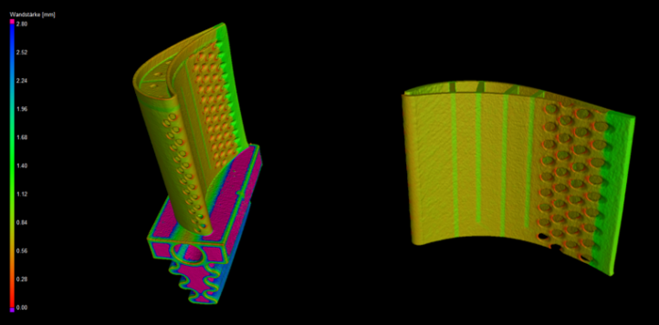 Figure 8. Left: Turbine blade with applied wall thickness analysis.
