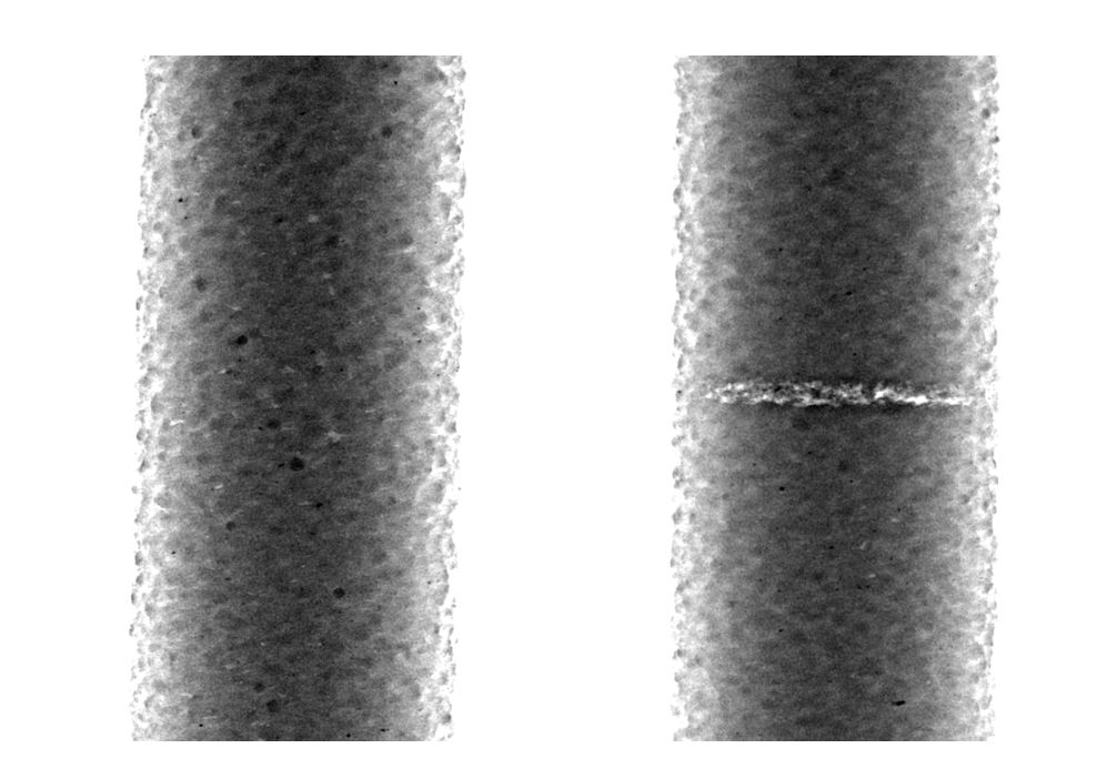 Figure 9. Left: 2D image of reference sample without manipulation, Right: 2D image of manipulated sample with visible area of pores